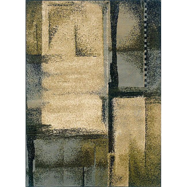 Indoor Blue Abstract Area Rug (5' x 7'3)