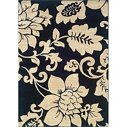 Indoor Black/ Ivory Floral Area Rug (3'2 x 5'5)