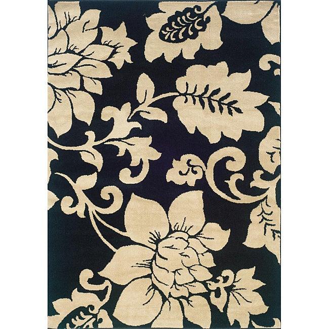 Indoor Black/ Ivory Floral Area Rug (7'10 x 10')