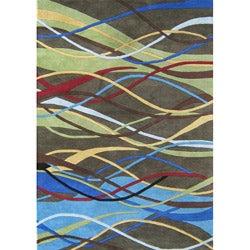 Alliyah Handmade Deep Lichen Green New Zealand Blend Wool Rug (5' x 8')