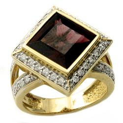 Beverly Hills Charm 14k Yellow Gold Rhodolite and 1/2ct TDW Diamond Ring