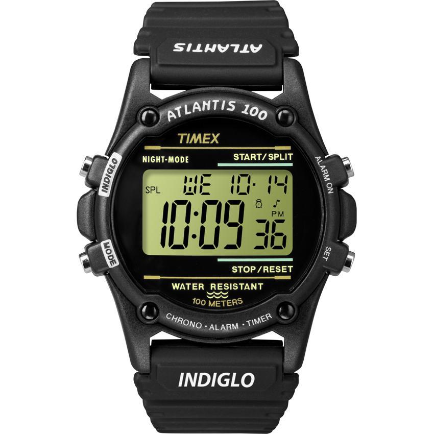 Timex Men's T5K463 Atlantis 100 Black Case Black Watch