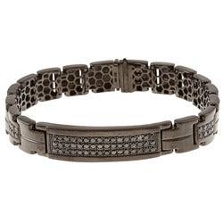 Black Silver Men's 1 1/2ct TDW Black Diamond Bracelet