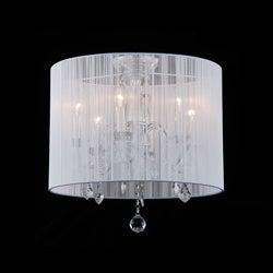 Indoor 6-light White Shade Chrome Flushmount Chandelier