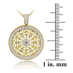 DB Designs 18k Gold over Silver Diamond Accent Filigree Medallion Necklace