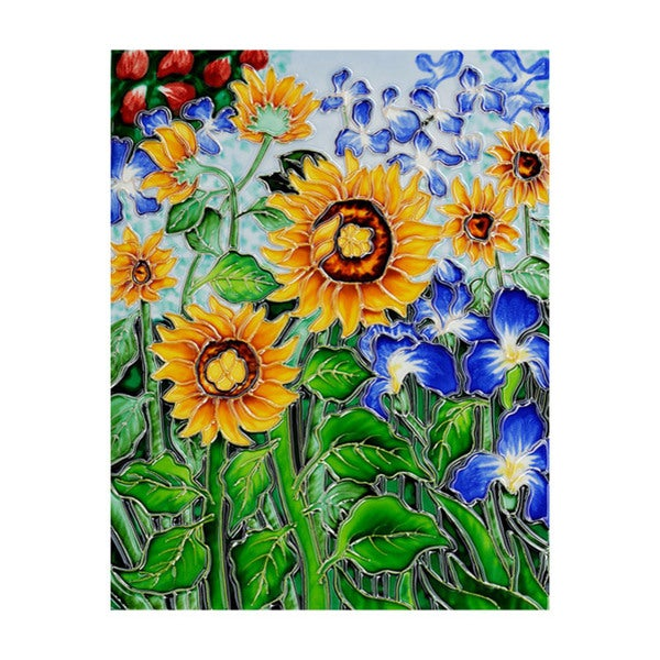 Hand-carved Van Gogh 'Sunflowers and Irises' Trivet/Wall Accent Tile