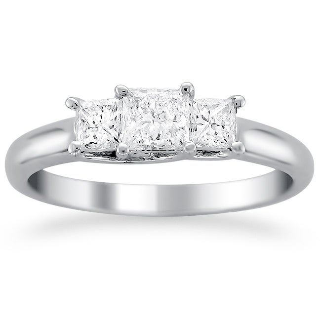 14k White Gold 1ct TDW 3-stone Diamond Ring (G-H, SI1)