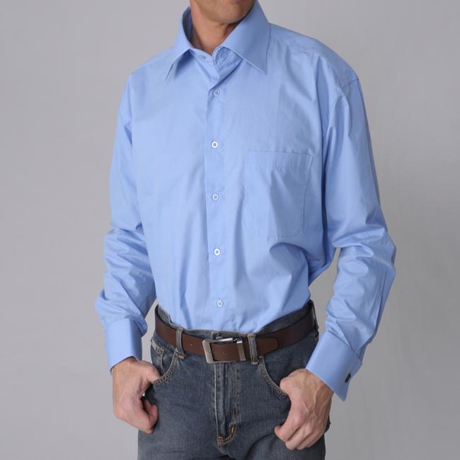 Boston traveler men 39 s blue wrinkle free french cuff dress for French cuff dress shirts for sale