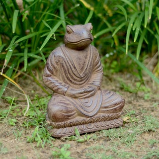 Volcanic Ash Black Meditating Frog Statue (Indonesia)