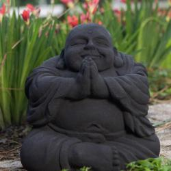 Volcanic Ash Namaste Black Happy Buddha Statue (Indonesia)