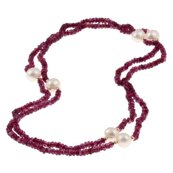 DaVonna 14k Gold Garnet/ White 10-11mm FW Pearl Necklace (36 in) with Gift Box