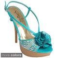 Journee Collection Women's 'Ignite-95' Floral Front Platform Sandals