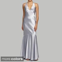 Issue New York Women's Deep V-back Trumpet-hem Evening Gown