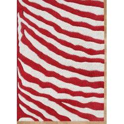 Alliyah Handmade New Zeeland Blend  Red Zebra Wool Rug (8' x 10')