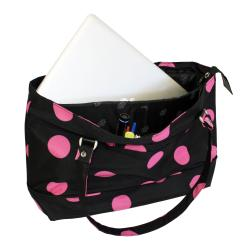 Jenni Chan Women's Black/Pink Dots Laptop Tote Bag