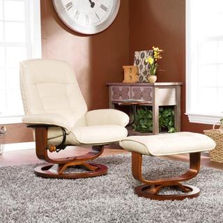 Upton Home Windsor Taupe Leather Recliner and Ottoman Set