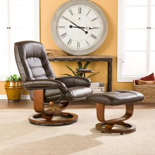 Upton Home Windsor Brown Leather Recliner and Ottoman Set