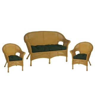 Hela Outdoor Green Wicker Chair and Love Seat Cushions (Set of 3)