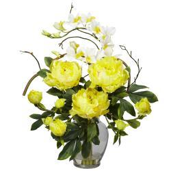 Silk 21.5-inch Peony/ Orchid Flower Arrangement