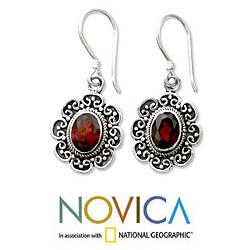 Sterling Silver 'Bright Blossom' Garnet Floral Earrings (Indonesia)