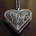 Silver 'Filigree Heart' Locket Necklace (Peru)