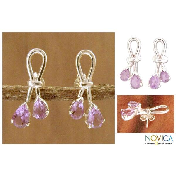 Sterling Silver 'Promise' Amethyst Dangle Earrings (India)