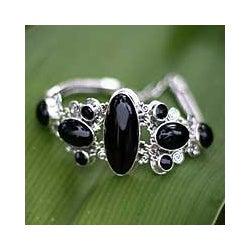 Sterling Silver 'A Night To Remember' Onyx Bracelet (Indonesia)