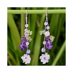 Sterling Silver 'Symphony' Pearl Amethyst Earrings (5-6.5 mm) (Thailand)