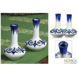 Set of 2 Ceramic 'Blue Atitlan' Vases (Guatemala)