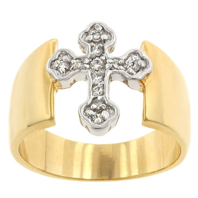 Kate Bissett Two-tone Cubic Zirconia Cross Ring