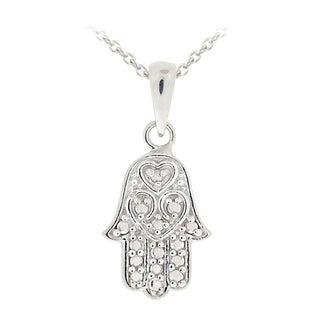 DB Designs Sterling Silver Diamond Accent Hamsa Hand Necklace