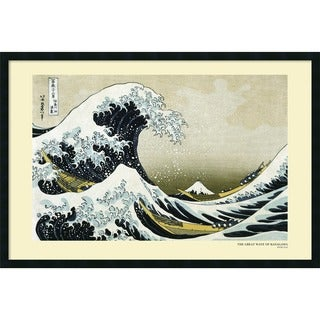 Katsushika Hokusai 'The Great Wave off the Coast of Kanagawa' Framed Art Print with Gel Coated Finish