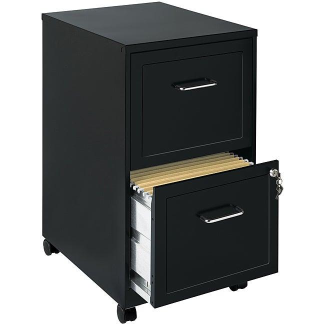 Office Designs Black 2-drawer Mobile File Cabinet
