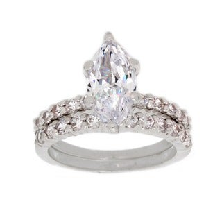 NEXTE Jewelry Silvertone Marquise Cubic Zirconia Bridal-style Ring Set