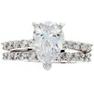NEXTE Jewelry Silvertone Pear Cubic Zirconia Bridal-style Ring Set