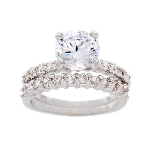 NEXTE Jewelry Silvertone High-polish Round-cut Solitaire Cubic Zirconia Bridal Set