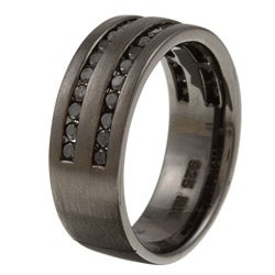 Black Sterling Silver Men's 1ct TDW Black Diamond Ring