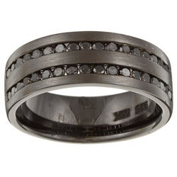 Black Sterling Silver Men's 1ct TDW Black Diamond Ring