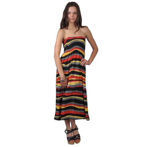 Happie Brand Juniors Smocked Horizontal-Stripe Tube Dress