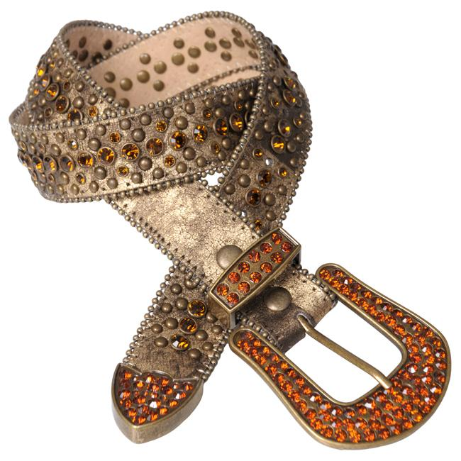 Journee Collection Women's Rhinestone and Stud Embellished Belt