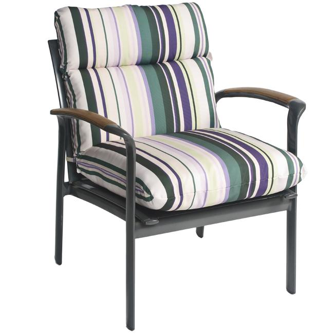 Pia Stripe Outdoor Purple Patio Club Chair Cushion
