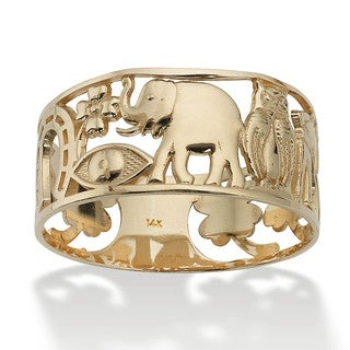 PalmBeach 14k Yellow Gold 'Good Luck' Ring Tailored