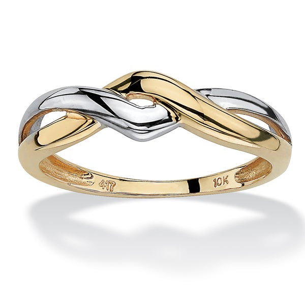 PalmBeach 10k Two-tone Gold Twist Ring Tailored
