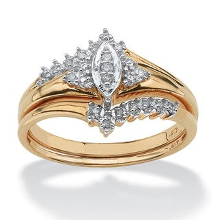 PalmBeach 10k Gold 1/10ct TDW Marquise 2-Piece Diamond Ring Set (G-H, I2-I3)