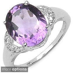 Malaika Sterling Silver Oval-cut Prong-set Gemstone and White Topaz Ring