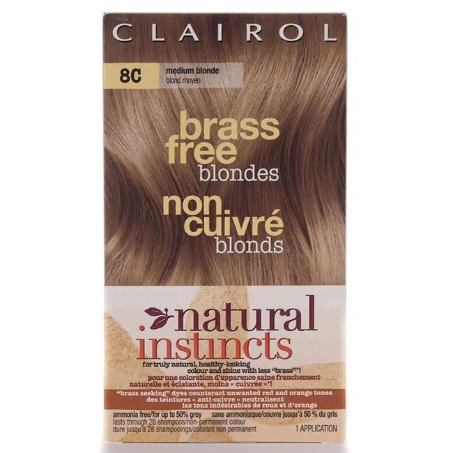 Clairol Natural Instincts Brass Free Blondes 8C Medium Blonde Hair Color (Pack of 4)