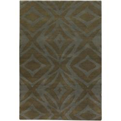 Hand-Knotted Mandara Green New Zealand Wool Rug (9' x 13')