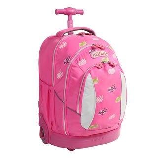 J World Pink Rabbit 17-inch Kids Ergonomic Rolling Backpack