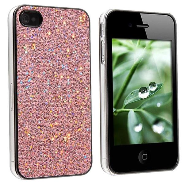 INSTEN Snap-on Pink Bling Phone Case Cover for Apple iPhone 4
