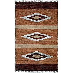 Hand-woven Matador Diamonds Brown Leather Rug (9' x 12')